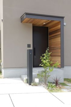 Photo collection of the Nagata building for the construction of a single-family house in Dazaifu # entrance canopy … - Eingang House Entrance, Entrance Doors, Patio Doors, Modern Entrance Door, Modern Entry, Door Design, Exterior Design, Exterior Homes, Exterior Trim