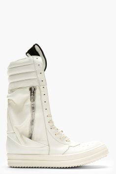 RICK OWENS // WHITE LEATHER CARGOBASKET SNEAKER BOOTS | high end footwear | designer shoes