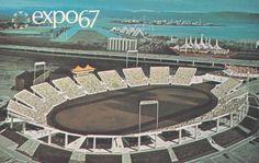 Here is a vintage postcard of the Auto Stade at Expo 67 in Montreal, Canada. Montreal Alouettes, Lounge, Le Havre, World's Fair, Beautiful Places, Photos, The Incredibles, Culture, City