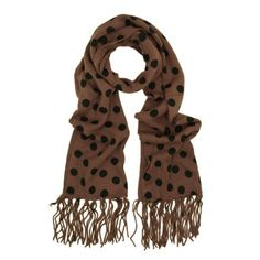 Classic Soft Knit Polka Dots Tassels Ends Long Scarf - Different Colors Available