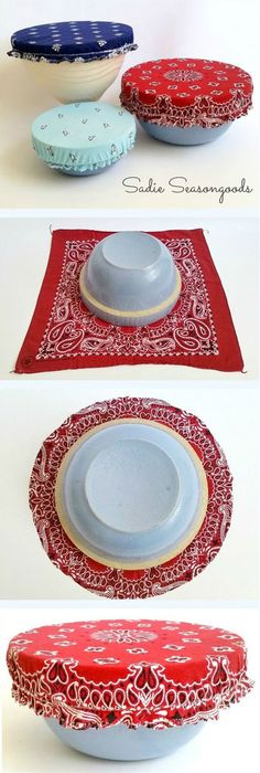 Just in time for July and summer BBQs.DIY reusable, washable bowl covers from bandanas! Your lidless mixing bowl gets some patriotic panache with a vintage bandana bowl cover, which will keep the bugs out when sitting on the picnic table! Such a fun Sewing Hacks, Sewing Tutorials, Sewing Patterns, Sewing Tips, Sewing Ideas, Crafts To Sell, Diy And Crafts, Fabric Crafts, Sewing Crafts