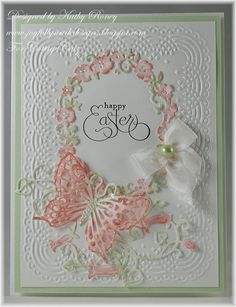 Kathy Roney: Joyfully Made Designs for CottageBLOG: Happy Easter - 3/12/14.  (Dies: Garden Floral Frame; Garden Delight Butterflies; Garden Butterfly Vine.)  (Pin#1: Dies: Cottage Cutz. Pin+: Butterflies...; Easter: Flowers)