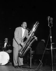 Duke Ellington band member Paul Gonsalves, a tenor saxophone player, brings out the bass sax for a concert in Portland, Ore., circa 1954. See previously unknown photos of Duke Ellington, Ella Fitzgerald, Louis Armstrong and more performing during the prime of  Portland's Jazz Town.