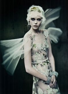 'I almost wish we were butterflies and liv'd but three summer days - three such days with you I could fill with more delight than fifty common years could ever contain.' ~ Keats.    Photographed by Paolo Roversi