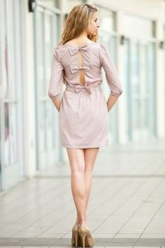 Lavender Floral Print Bow Back Cutout Dress
