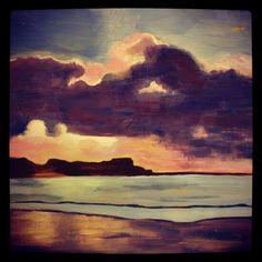 Sunset landscape study (Will Kemp Art School) Acrylic on birch wood by Allison Gobbell