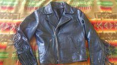 Vintage biker motorcycle jacket whit fringe 60s era - http://www.gezn.com/vintage-biker-motorcycle-jacket-whit-fringe-60s-era.html