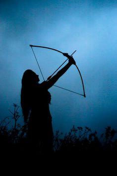 photo, zdjęcia, blue, girl, łuk, bow, archer, black,