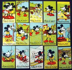 Vintage Disney-Mickey Mouse Chocolate Non Sports Card Set-France-Rubis-1930s-WXD