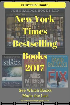 2017 New York Times Best adult fiction. Thirty books made it to #1. See the list on my website.