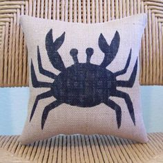 Crab pillow, Stenciled pillow, Beach pillow, Nautical pillow, Beach decor, Burlap pillow, FREE SHIPPING! by KelleysCollections