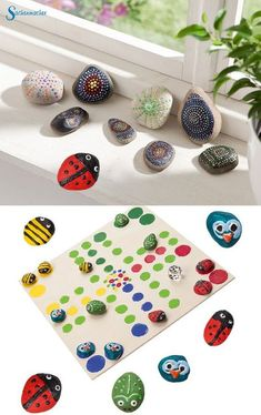 Paint stones and let creativity free up. By pressing the bottle e - Diy Basteln - Kunst Diy Birthday, Birthday Parties, Diy For Kids, Crafts For Kids, Diy And Crafts, Arts And Crafts, Home Decor Paintings, Home Decor Pictures, Stone Painting