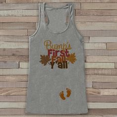 Fall Pregnancy Announcement Tank - Bump's First Fall Y'all - Pregnancy Reveal…