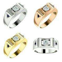 Gorgeous Handcrafted 14 Karat White, Rose or Yellow Gold 1.00 Carat Cushion Cut Moissanite, Diamond & Blue Sapphire Men's Ring.