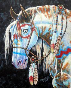 Cherokee Indian Paintings - Indian War Pony by Amanda Stewart Native American Horses, Native American Paintings, Indian Paintings, American Indians, Indian Horses, Horse Artwork, Horse Paintings, American Indian Art, American War