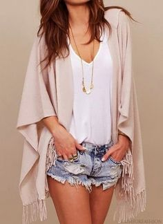 {Fashion} {V-necked} {Top} {Denim} {Shorts} {Ripped} {Pastel} {Fringed} {Kimono} {Summer} {White} {Pink} {Outfit} {Pretty} {Women} {Day} {Casual} {Teens} {Teenage} {Girl} {Spring} {Fall} {Beach} {Hot} {Model} {Necklace} {Style} {Womens Fashion}