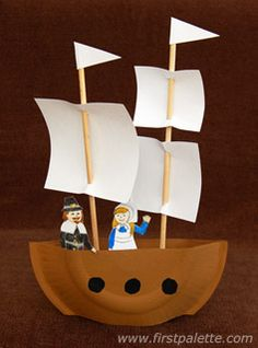 """Use paper plates, chopsticks, and index cards to make your own """"Mayflower"""" ship. - Fall Crafts For Kids Fun Crafts For Kids, Summer Crafts, Preschool Crafts, Fall Crafts, Holiday Crafts, Craft Kids, Pirate Ship Craft, Pirate Crafts, Pirate Ships"""