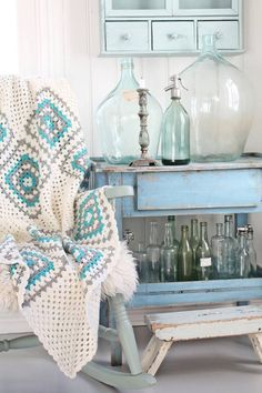 cottage by the sea in sea glass colors.oh my, that blanket! Decor, Shabby Chic, Coastal Decor, Blue Table, Painted Furniture, Cottage Decor, Cottages By The Sea, Home Decor, Inspiration