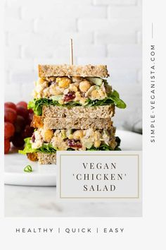 Vegan 'Chicken' Salad is a flavorful, quick and easy salad made with mashed chickpeas, cranberries and walnuts tossed with a creamy dressing for a healthy, WFPB wrap or sandwich filler! #chickpeas #healthyrecipes #veganrecipes #plantbased Vegan Recipes Easy, Whole Food Recipes, Vegetarian Recipes, Cooking Recipes, Vegan Recepies, Chickpea Recipes, Vegetarian Lunch, Diabetic Recipes, Veggie Recipes