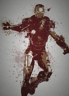 """""""Armoured Avenger""""  Splatter effect artwork inspired by Iron Man from The Avengers"""