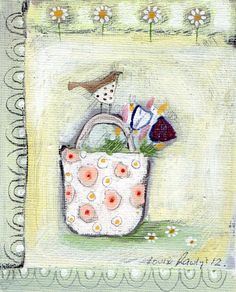 Bird and Flower Basket by Louise Rawlings