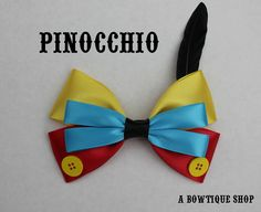 Up for your consideration is a custom made hair bow based on the classic story - Pinocchio.    The bow measures 5 inches wide and 3 inches tall. I