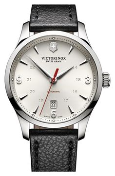 Victorinox Swiss Army® 'Alliance' Round Leather Strap Watch, 40mm available at #Nordstrom