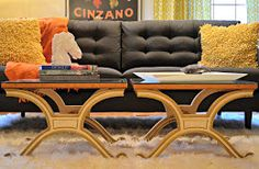 mid century modern coffee table made from TWO end tables ... Great idea for folks starting out!