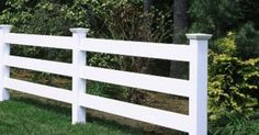 Morgan 3 Rail Fence - This attractive 3 Morgan fence has New England caps and is crafted in hollow vinyl. Rope Fence, Diy Fence, Backyard Fences, Wooden Fence, Garden Tool Shed, Garden Gates, Building A Fence Gate, Post And Rail Fence, Walpole Outdoors