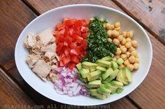 Ingredientes para la ensalada de garbanzos y atún