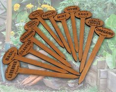 Cedar Oval-Top Natural 12in Herb Vegetable Flower Garden Stake Plant Markers