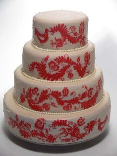 cake with Hungarian folk motives#white and red