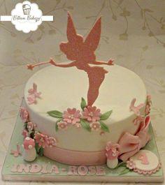 Pretty pink girls tinkerbell birthday cake with acrylic glittery cake topper