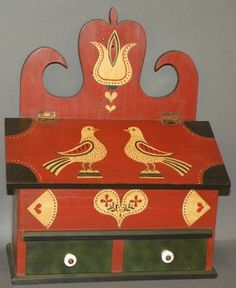 """folk art polychromed decorated box with two compartments under lift lid over two drawers and signed """"D. on Jan 2013 Painting Antique Furniture, Antique Paint, Painted Furniture, Salt Box, Scandinavian Folk Art, Barn Art, Wall Boxes, Amish Furniture, Primitive Folk Art"""