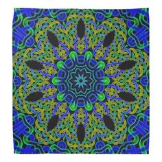 Blue green Celtic knot tile 144 Kerchiefs