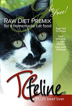 """TCfeline RAW Cat Food Premix / Supplement to make a Homemade, All Natural, Grain Free, Holistic Diet – With Beef Liver (Regular 17 oz) """"Egg Free Formula"""""""