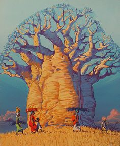 Afrique Angus McBride - The Boabab Tree What Foods Can Trigger Bed Wetting? Ousmane Sow, African Tree, Baobab Tree, Unique Trees, Tree Illustration, Nature Tree, Environment Concept Art, Abstract Images, Tree Art