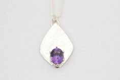 Sterling Silver Amethyst Necklace - Handmade Diamond Shaped Pendant with Amethyst -Handcrafted Necklace by hollybluejewelry on Etsy