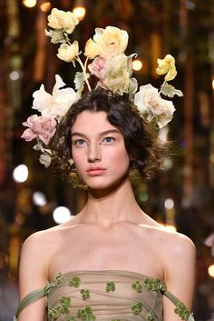 Models on the Dior runway looked like something out of a forest fairy tale wearing elaborate flower crowns and romantic makeup.