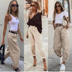 Slouchy jeans 💥~ Which look is your favorite 2 or _______________________________________________ . Basic Outfits, Mode Outfits, Trendy Outfits, Fashion Outfits, Fashion Trends, Jeans Fashion, Simple Outfits, Fashion Clothes, Pantalon Slouchy