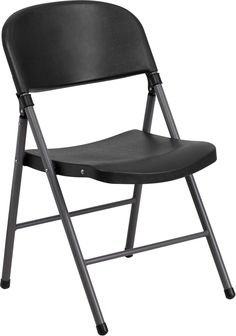 HERCULES Series 330 lb. Capacity Black Plastic Folding Chair with Charcoal Frame | manhattanhomedesign.com