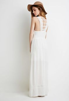 FOREVER 21 Crinkled Ladder-Back Maxi Dress