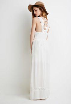 FOREVER 21 Crinkled Ladder-Back Maxi Dress