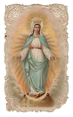 """Our Lady of Lourdes holy card. The banner reads, """"I am the . Blessed Mother Mary, Blessed Virgin Mary, Divine Mother, Catholic Art, Religious Art, Madonna, Vintage Holy Cards, Miracle Prayer, Mama Mary"""