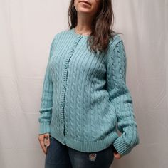 c57c1888bf LL BEAN Womens S Red Cotton Full Zip Mock Neck Cable Knit Cardigan Sweater  EUC