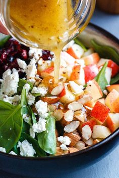 Apple Almond Feta Spinach Salad - Crunchy sweet and easy to make this healthy spinach salad is full of fresh flavors. - by Apple Almond Feta Spinach Salad - Crunchy sweet and easy to make this healthy spinach salad is full of fresh flavors. Spinach Salad Recipes, Healthy Salad Recipes, Vegetarian Recipes, Side Salad Recipes, Dinner Salad Recipes, Spinach Apple Salad, Healthy Foods, Spinach Salad With Chicken, Christmas Salad Recipes