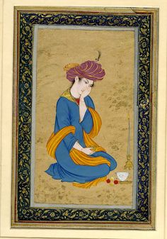 Painting. Portrait. A bashful, pensive youth. Mashq-i Muʿín Musavvir. On an Indian mount. Painted in gouache and gilded on paper. Producer nameMade by: Mu'in Musavvir biography School/styleIsfahan School Culture/periodSafavid dynasty term details Date1676 (AH 1087)