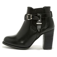 Buckle-ham Palace Black High Heel Booties ($43) ❤ liked on Polyvore featuring shoes, boots, ankle booties, ankle boots, black, black buckle boots, black boots, black bootie and black stretch boots