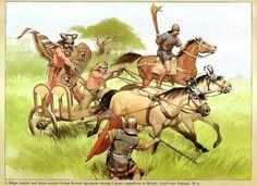 Celtic warriors of the tribus Belgae harassing Roman legionnaires in Britannia (54 AD)