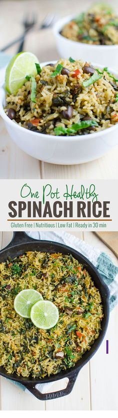 Filled with greens, beans and carbohydrates all-in-one pot spinach rice recipe. It is healthy and full of proteins, fibers and vitamins. Clean Eating, Healthy Eating, Healthy Food, Rice Dishes, Food Dishes, Vegan Dishes, Vegetarian Recipes, Cooking Recipes, Healthy Recipes